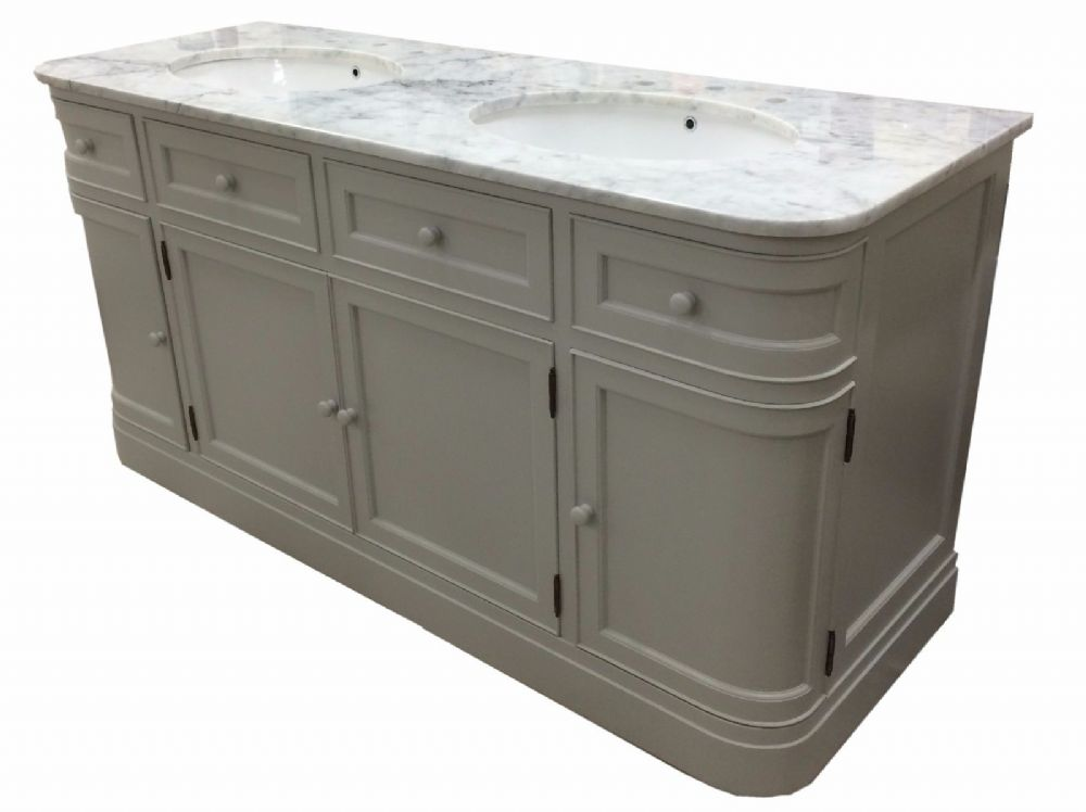 Bespoke Double Vanity Unit with Curved Sides